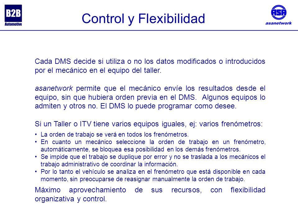 Control y Flexibilidad Cada DMS decide si utiliza o no los datos modificados o introducidos por el mecánico en el equipo del taller.