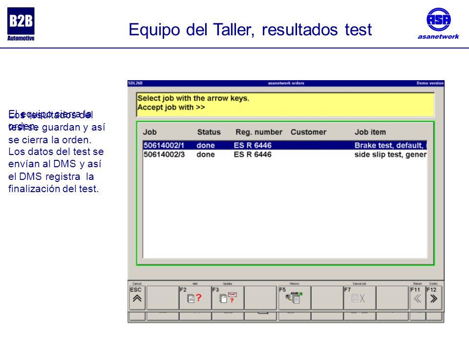 Equipo del Taller, resultados test Los resultados del test se guardan y así se cierra la orden.
