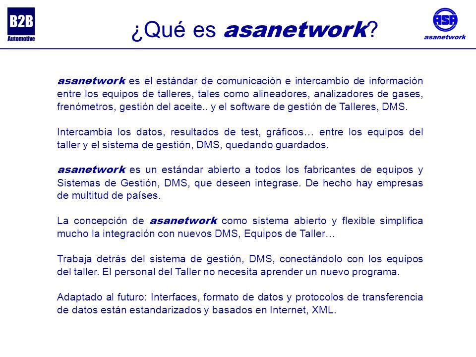 asanetwork es el estándar de comunicación e intercambio de información entre los equipos de talleres, tales como alineadores, analizadores de gases, frenómetros, gestión del aceite..