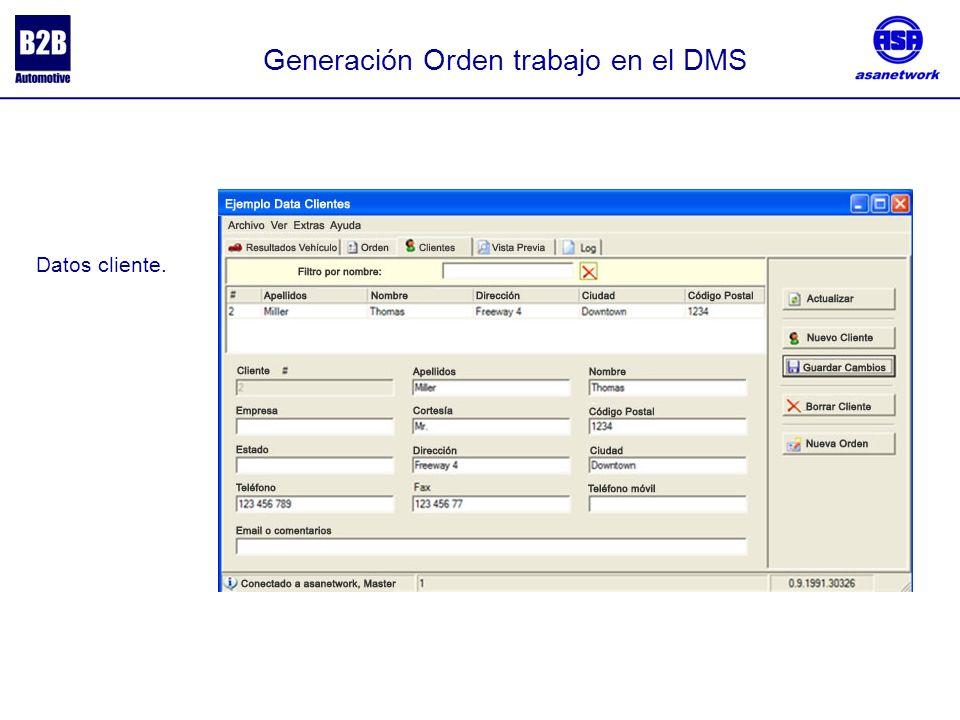 Generación Orden trabajo en el DMS Datos vehículo.