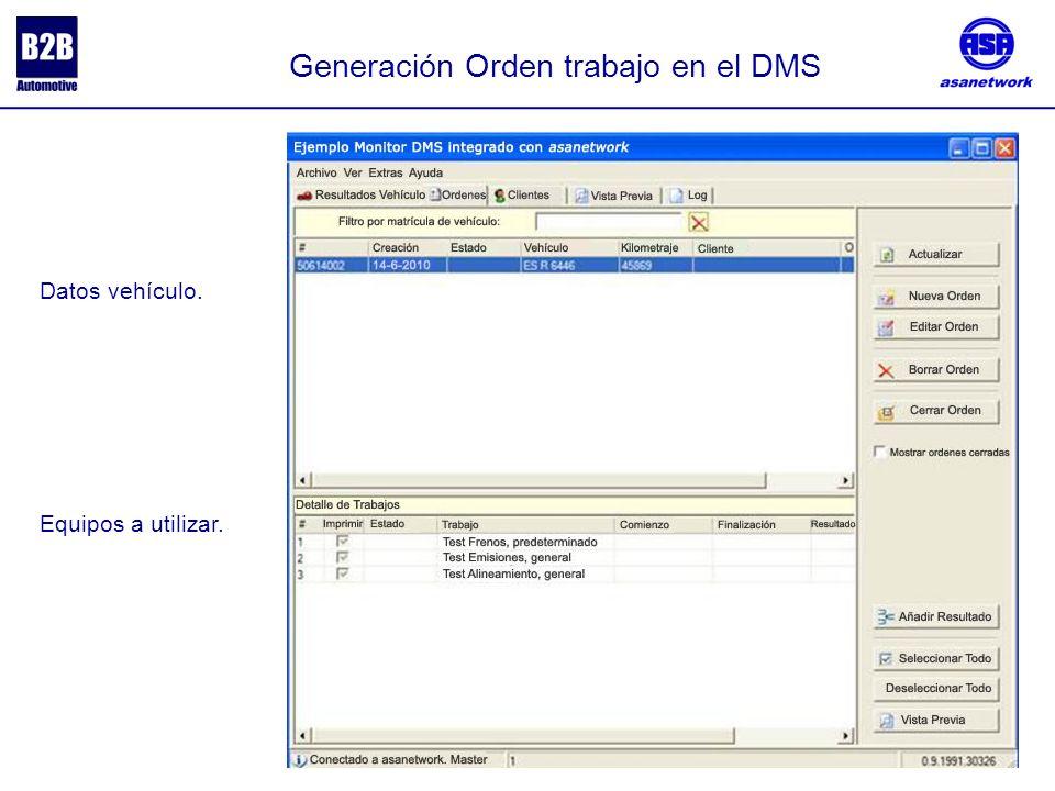 Generación Orden trabajo en el DMS Equipos a utilizar. Datos vehículo.