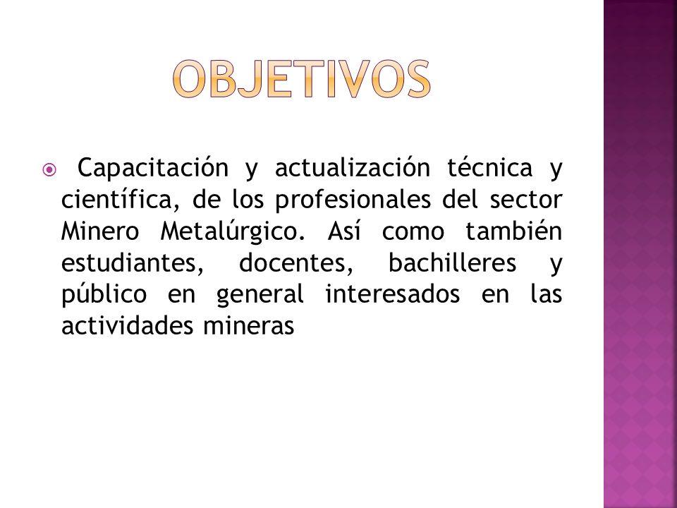 Se tomarán en cuenta las innovaciones en las siguientes áreas: Geología Operación de Minas Planeamiento de Minado Geomecánica Software minero Medio ambiente, Responsabilidad Social y Sostenibilidad Seguridad y salud ocupacional Procesos metalúrgicos Obras civiles en minería