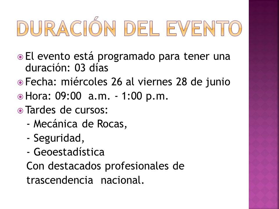 El evento está programado para tener una duración: 03 días Fecha: miércoles 26 al viernes 28 de junio Hora: 09:00 a.m.