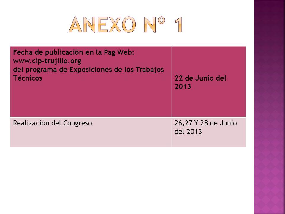 Fecha de publicación en la Pag Web: www.cip-trujillo.org del programa de Exposiciones de los Trabajos Técnicos22 de Junio del 2013 Realización del Congreso26,27 Y 28 de Junio del 2013