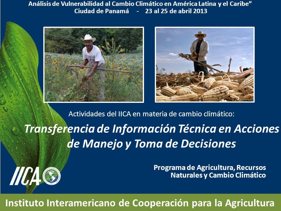 Programa de Agricultura, Recursos Naturales y Cambio Climático Instituto Interamericano de Cooperación para la Agricultura Actividades del IICA en mat