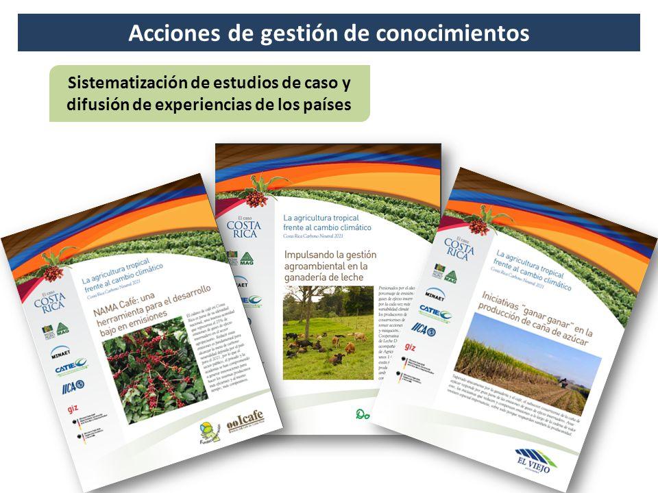 Acciones de gestión de conocimientos Sistematización de estudios de caso y difusión de experiencias de los países