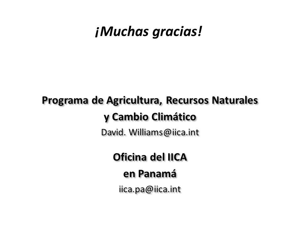 ¡Muchas gracias! Programa de Agricultura, Recursos Naturales y Cambio Climático David. Williams@iica.int Oficina del IICA en Panamá iica.pa@iica.int w
