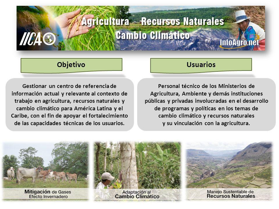 ObjetivoUsuarios Gestionar un centro de referencia de información actual y relevante al contexto de trabajo en agricultura, recursos naturales y cambi