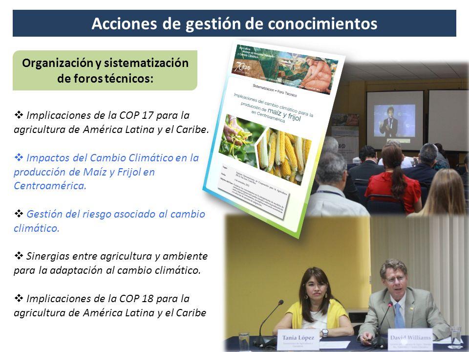 Acciones de gestión de conocimientos Organización y sistematización de foros técnicos: Implicaciones de la COP 17 para la agricultura de América Latin