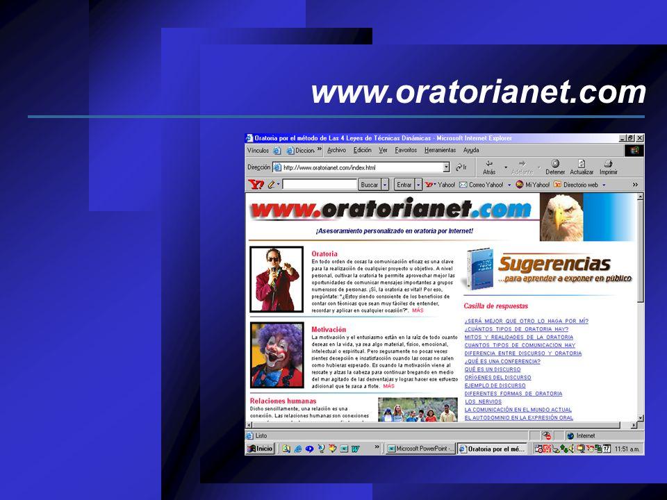 Autoayuda __________________ Oratorianet no es un curso de oratoria por Internet, sino una página web de autoayuda en cuatros campos básicos del desempeño laboral y social a la que puedes entrar en cualquier momento y desde cualquier lugar de la Tierra.