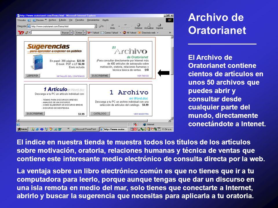 Archivo de Oratorianet __________________ El Archivo de Oratorianet contiene cientos de artículos en unos 50 archivos que puedes abrir y consultar des