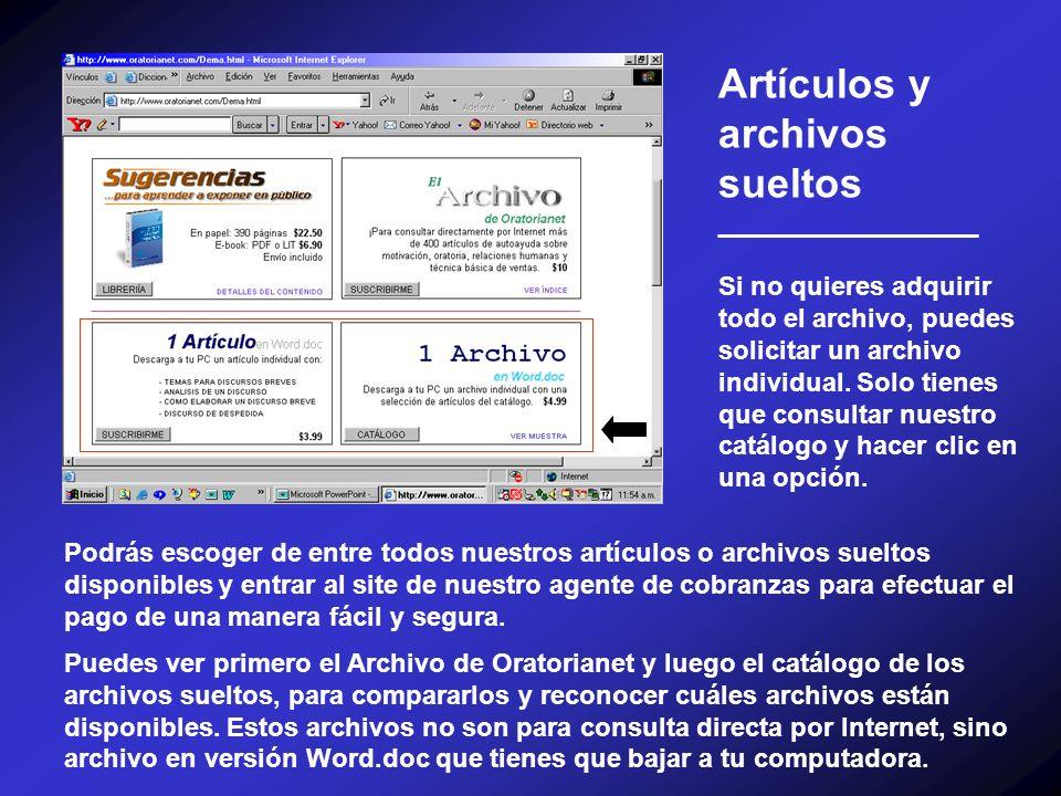 Artículos y archivos sueltos __________________ Si no quieres adquirir todo el archivo, puedes solicitar un archivo individual. Solo tienes que consul