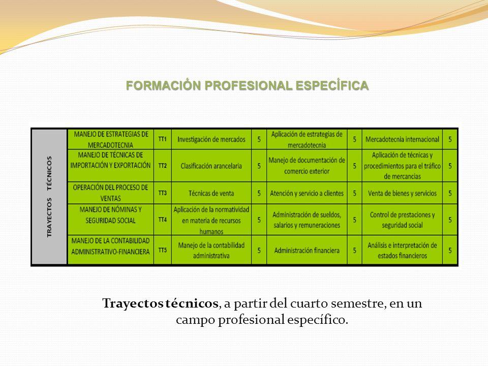 Trayectos técnicos, a partir del cuarto semestre, en un campo profesional específico. FORMACIÓN PROFESIONAL ESPECÍFICA