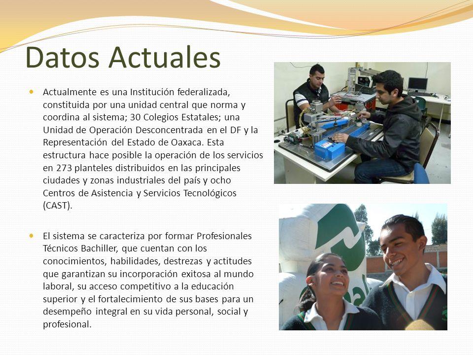 Datos Actuales Actualmente es una Institución federalizada, constituida por una unidad central que norma y coordina al sistema; 30 Colegios Estatales;