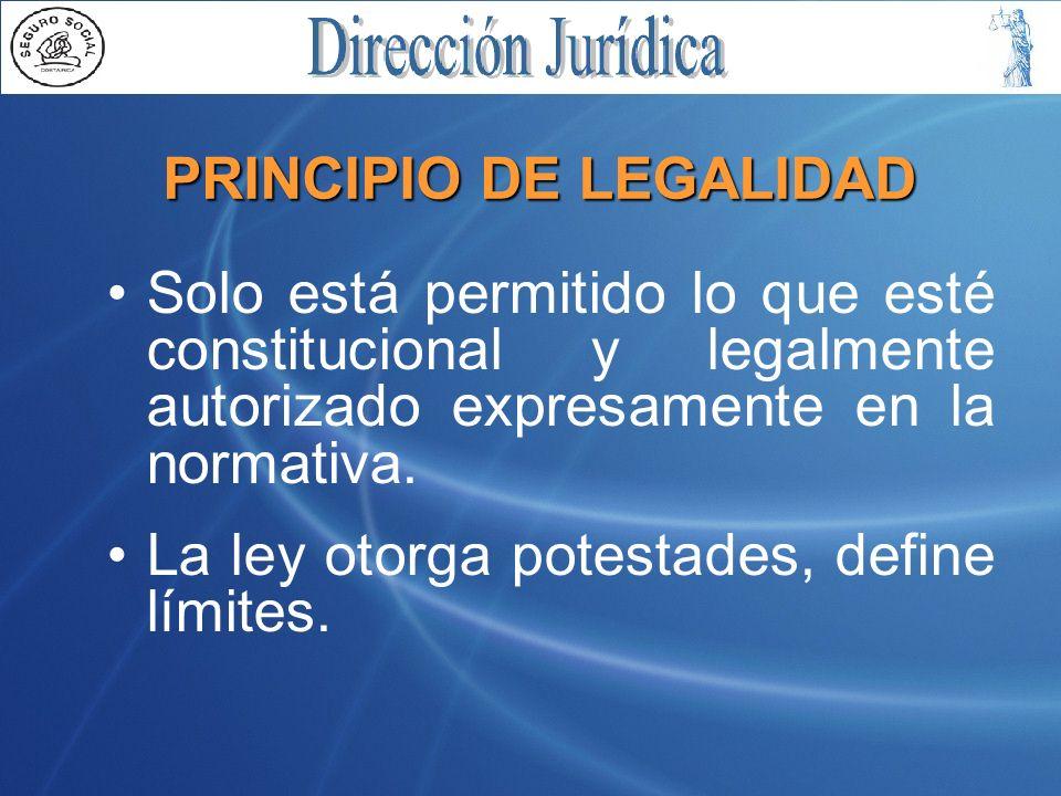 PRINCIPIO DE LEGALIDAD Solo está permitido lo que esté constitucional y legalmente autorizado expresamente en la normativa.