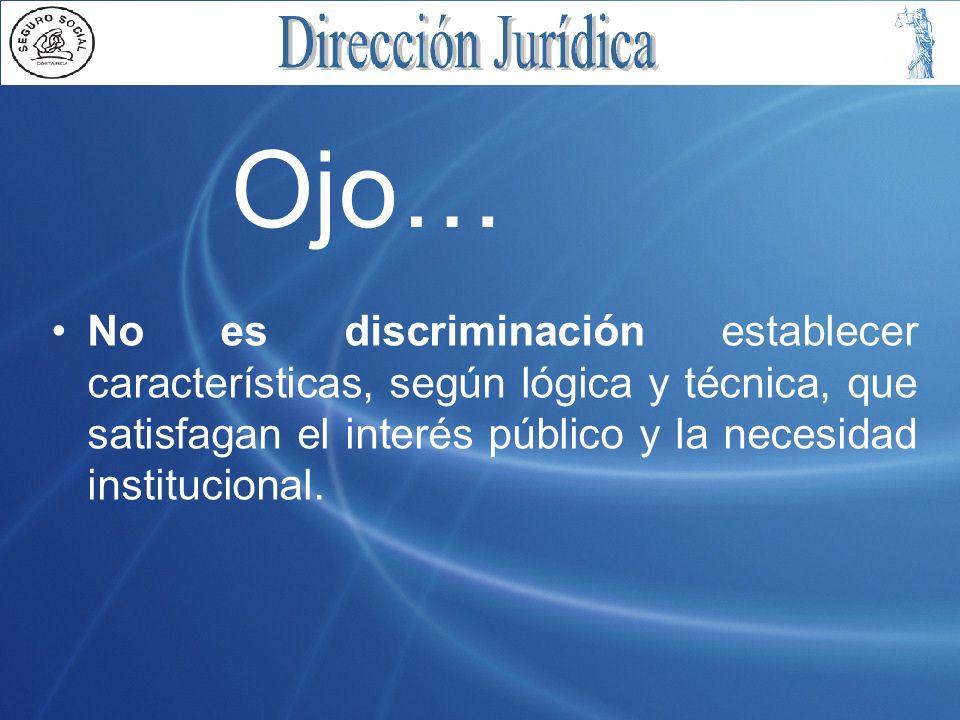 No es discriminación establecer características, según lógica y técnica, que satisfagan el interés público y la necesidad institucional.