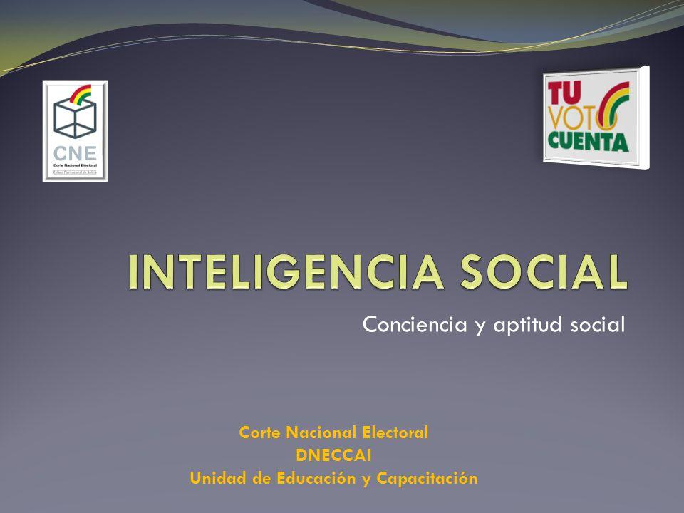 Conciencia y aptitud social Corte Nacional Electoral DNECCAI Unidad de Educación y Capacitación