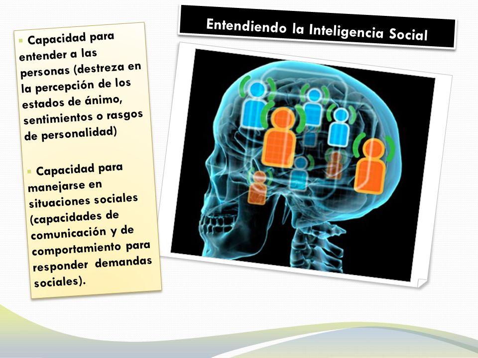 Entendiendo la Inteligencia Social Capacidad para entender a las personas (destreza en la percepción de los estados de ánimo, sentimientos o rasgos de personalidad) Capacidad para manejarse en situaciones sociales (capacidades de comunicación y de comportamiento para responder demandas sociales).