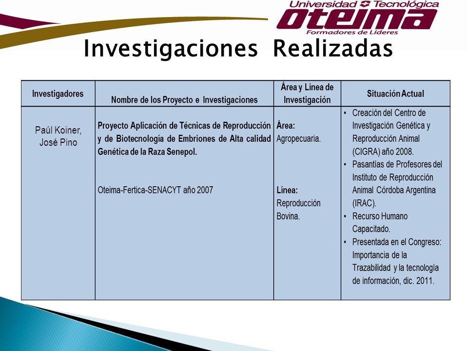 Investigaciones Realizadas Paúl Koiner, José Pino
