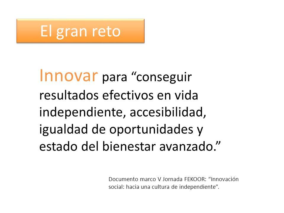 Innovar para conseguir resultados efectivos en vida independiente, accesibilidad, igualdad de oportunidades y estado del bienestar avanzado.