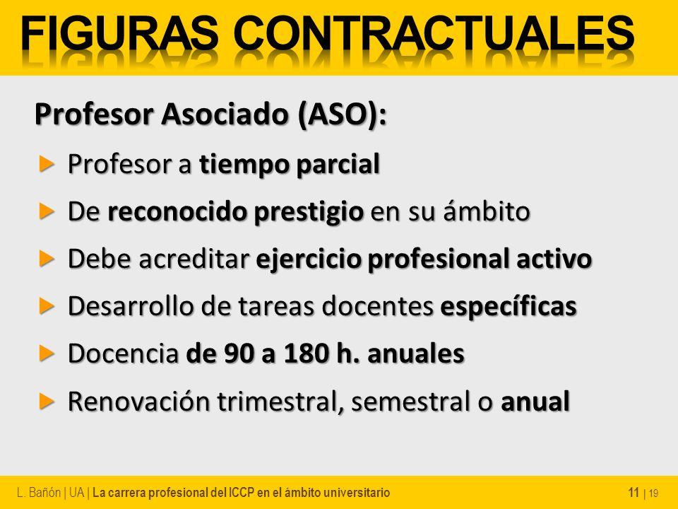 Profesor Asociado (ASO): Profesor a tiempo parcial Profesor a tiempo parcial De reconocido prestigio en su ámbito De reconocido prestigio en su ámbito