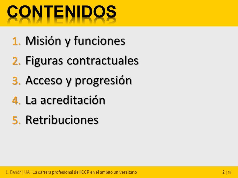 1. Misión y funciones 2. Figuras contractuales 3. Acceso y progresión 4. La acreditación 5. Retribuciones L. Bañón | UA | La carrera profesional del I