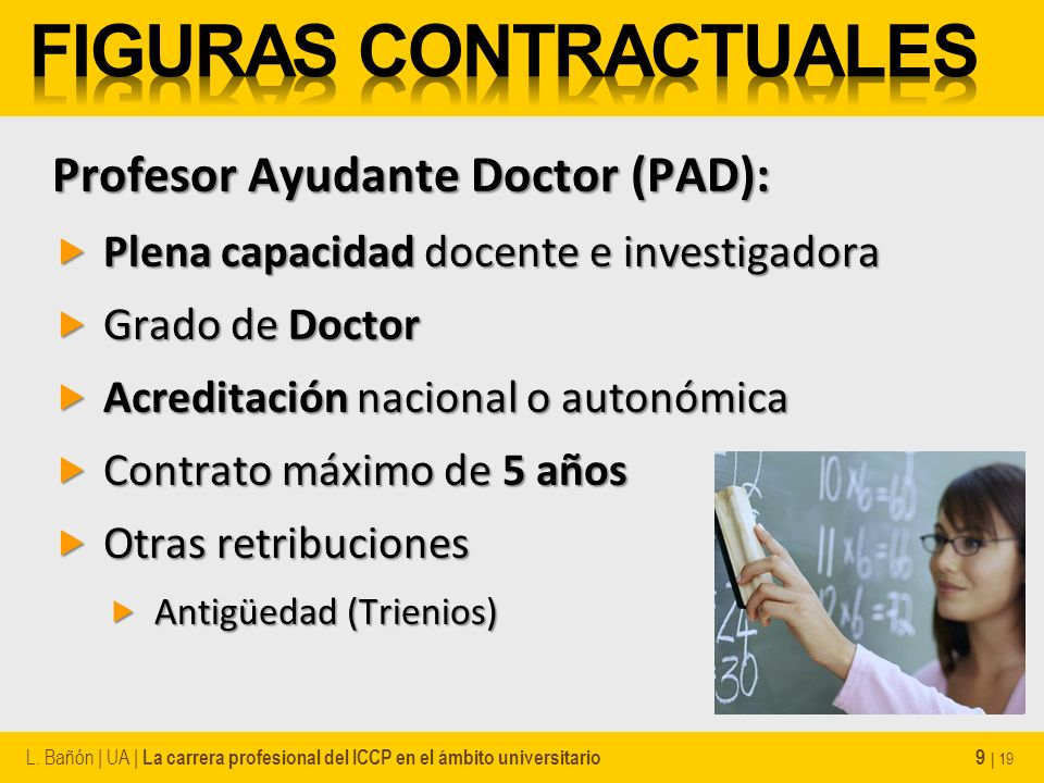 Profesor Ayudante Doctor (PAD): Plena capacidad docente e investigadora Plena capacidad docente e investigadora Grado de Doctor Grado de Doctor Acredi