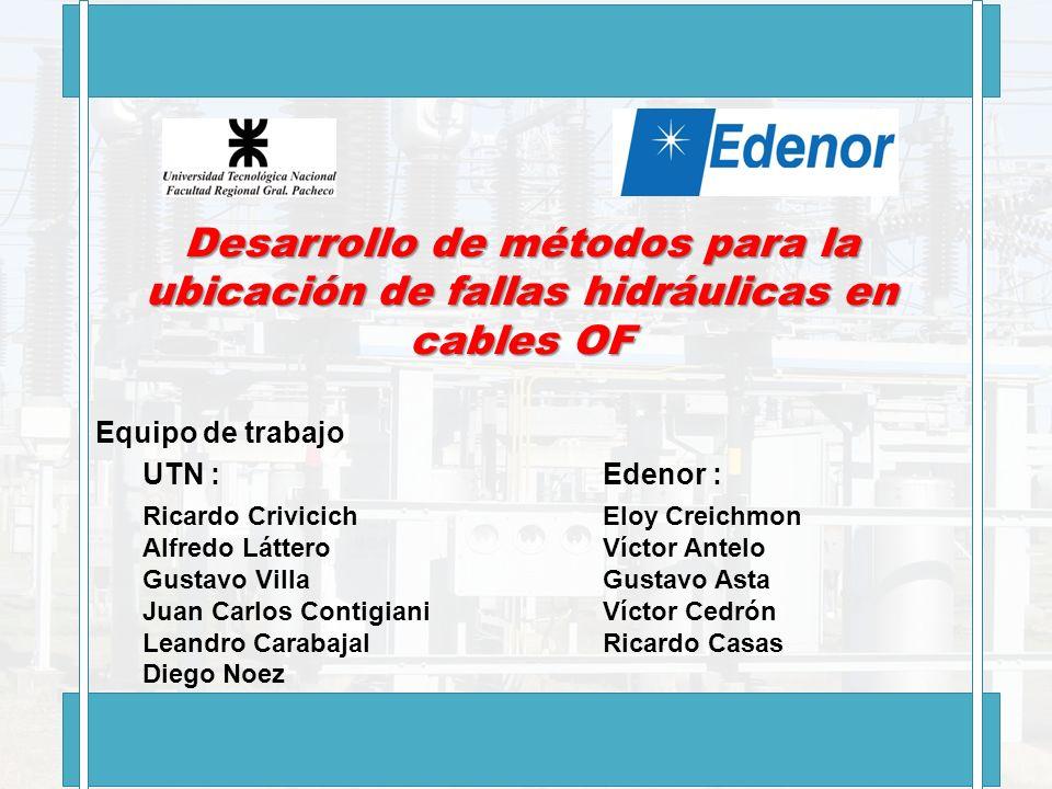 Desarrollo de métodos para la ubicación de fallas hidráulicas en cables OF Equipo de trabajo UTN : Ricardo Crivicich Alfredo Láttero Gustavo Villa Jua