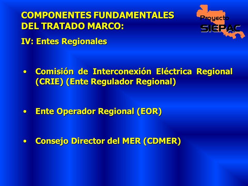 COMPONENTES FUNDAMENTALES DEL TRATADO MARCO: IV: Entes Regionales Comisión de Interconexión Eléctrica Regional (CRIE) (Ente Regulador Regional)Comisió