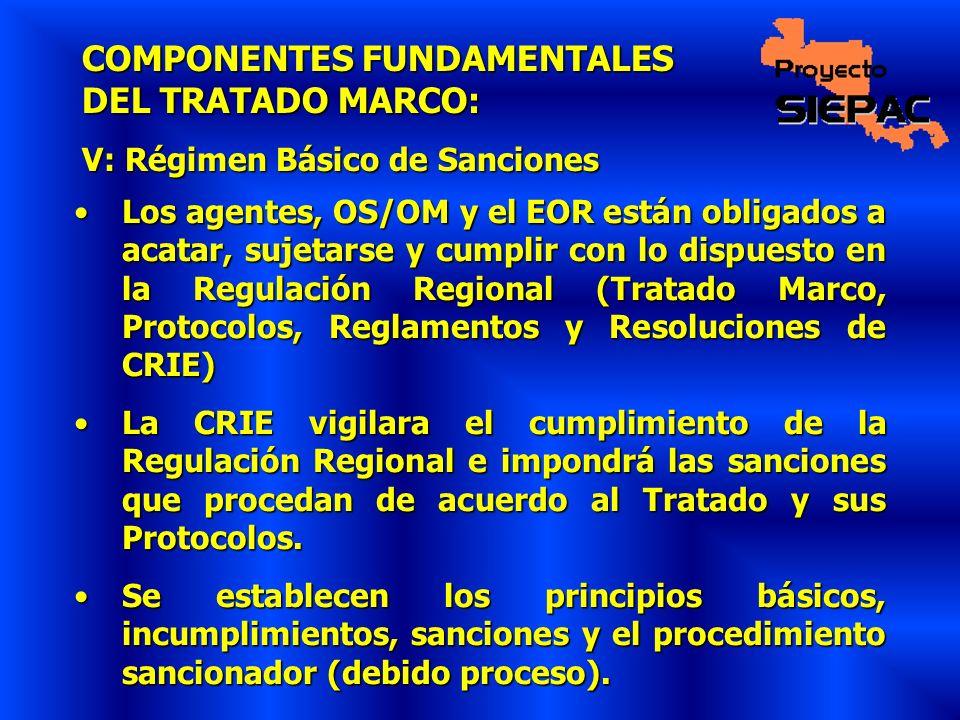 COMPONENTES FUNDAMENTALES DEL TRATADO MARCO: V: Régimen Básico de Sanciones Los agentes, OS/OM y el EOR están obligados a acatar, sujetarse y cumplir
