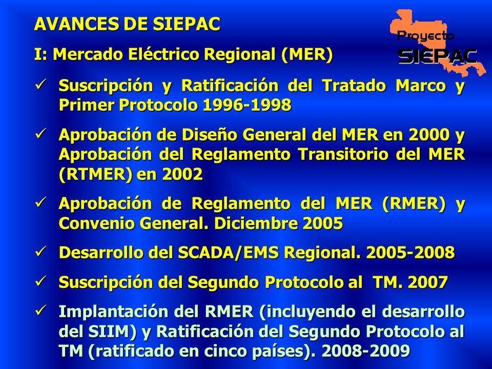 AVANCES DE SIEPAC I: Mercado Eléctrico Regional (MER) Suscripción y Ratificación del Tratado Marco y Primer Protocolo 1996-1998 Suscripción y Ratifica