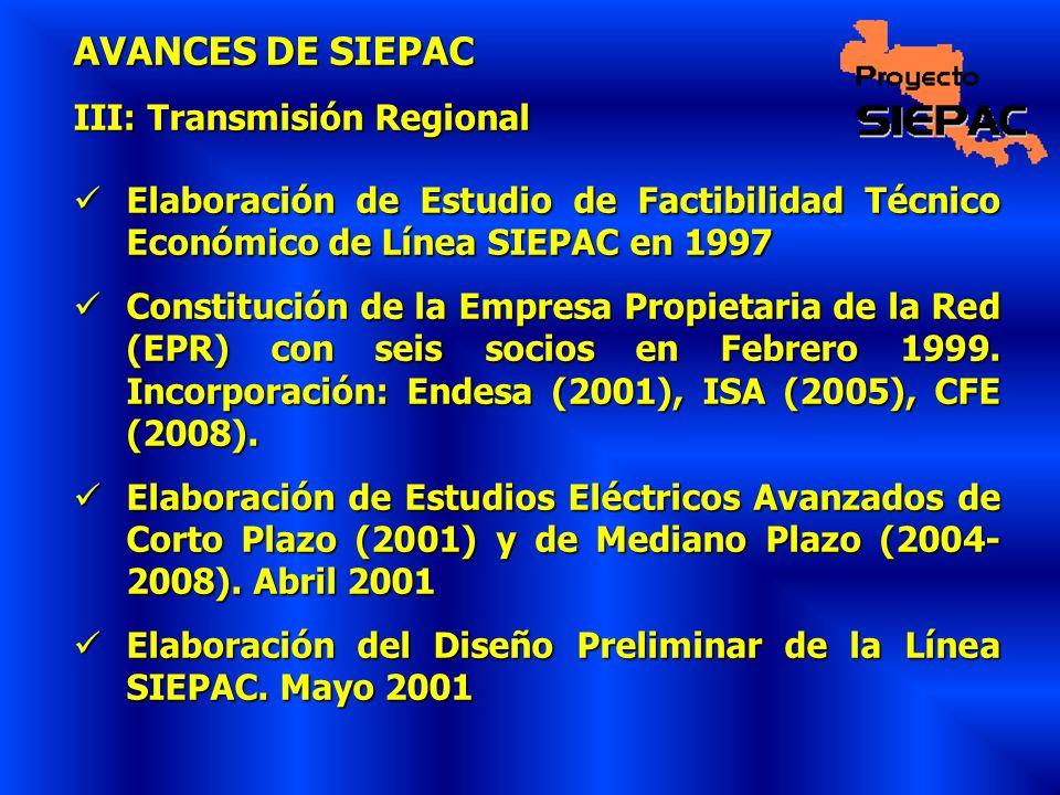 AVANCES DE SIEPAC III: Transmisión Regional Elaboración de Estudio de Factibilidad Técnico Económico de Línea SIEPAC en 1997 Elaboración de Estudio de
