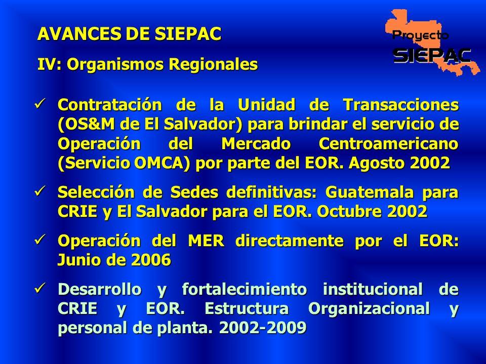 AVANCES DE SIEPAC IV: Organismos Regionales Contratación de la Unidad de Transacciones (OS&M de El Salvador) para brindar el servicio de Operación del