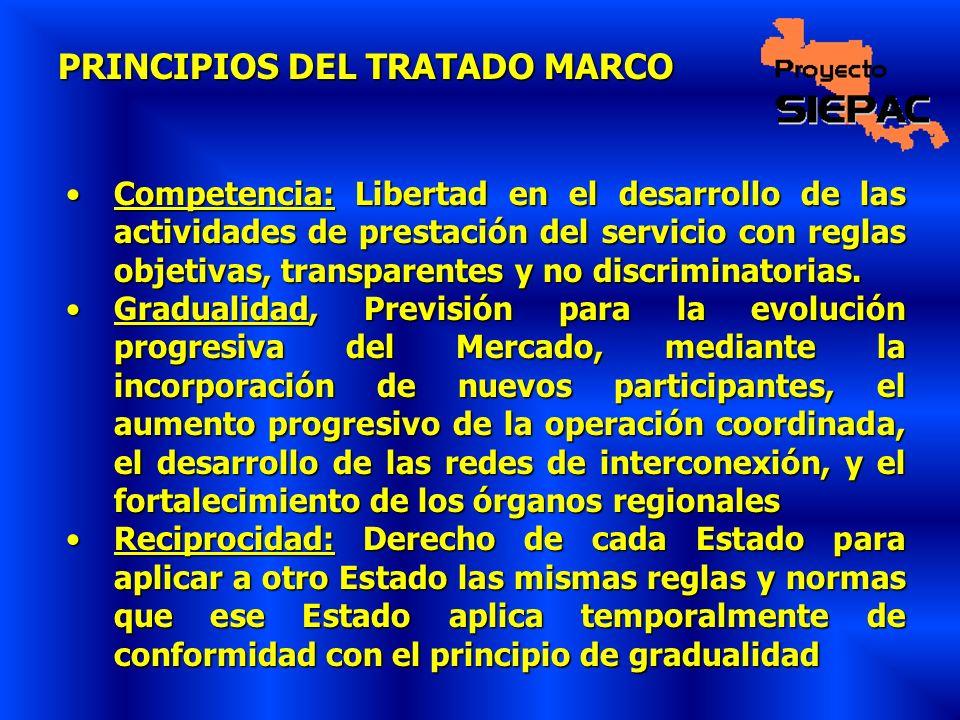 PRINCIPIOS DEL TRATADO MARCO Competencia: Libertad en el desarrollo de las actividades de prestación del servicio con reglas objetivas, transparentes