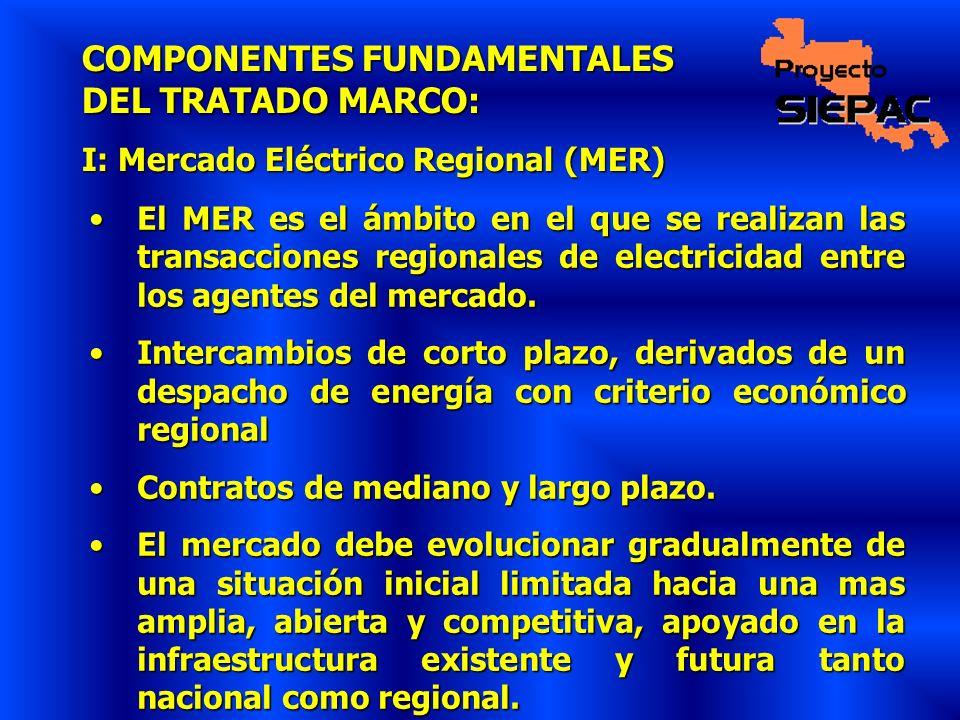 COMPONENTES FUNDAMENTALES DEL TRATADO MARCO: I: Mercado Eléctrico Regional (MER) El MER es el ámbito en el que se realizan las transacciones regionale