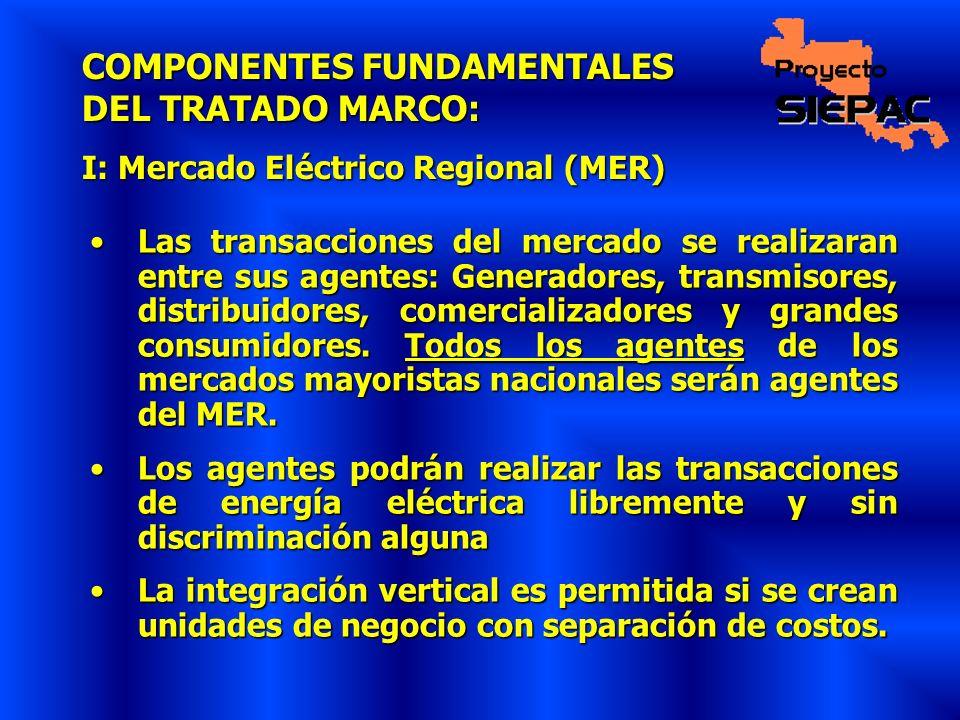 COMPONENTES FUNDAMENTALES DEL TRATADO MARCO: I: Mercado Eléctrico Regional (MER) Las transacciones del mercado se realizaran entre sus agentes: Genera