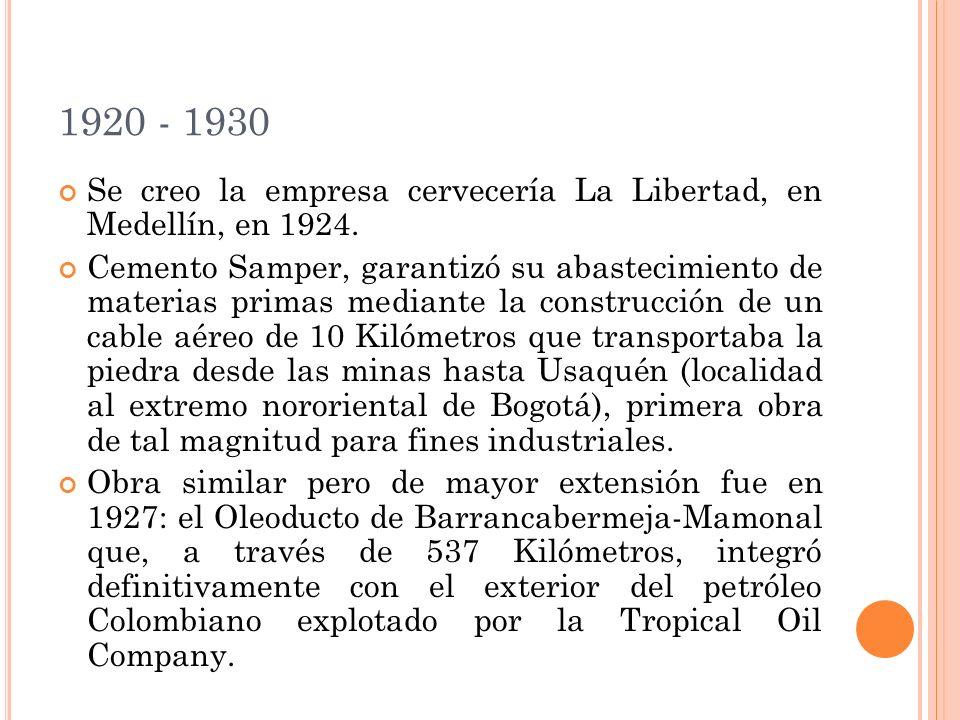 1920 - 1930 Se creo la empresa cervecería La Libertad, en Medellín, en 1924. Cemento Samper, garantizó su abastecimiento de materias primas mediante l