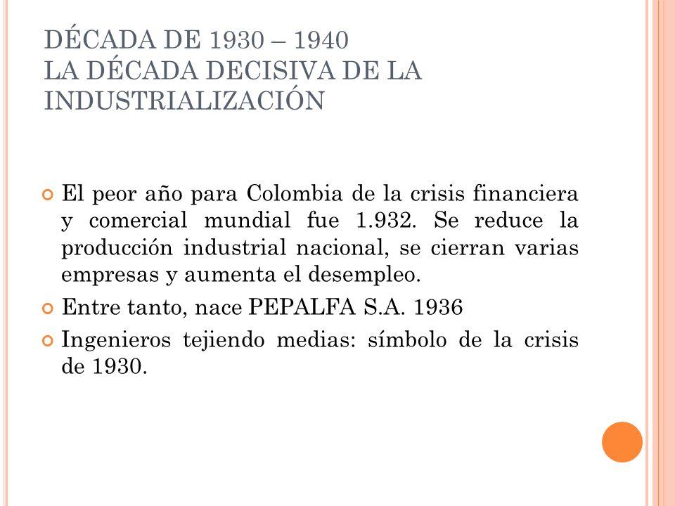 DÉCADA DE 1930 – 1940 LA DÉCADA DECISIVA DE LA INDUSTRIALIZACIÓN El peor año para Colombia de la crisis financiera y comercial mundial fue 1.932. Se r