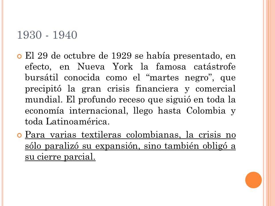 1930 - 1940 El 29 de octubre de 1929 se había presentado, en efecto, en Nueva York la famosa catástrofe bursátil conocida como el martes negro, que precipitó la gran crisis financiera y comercial mundial.
