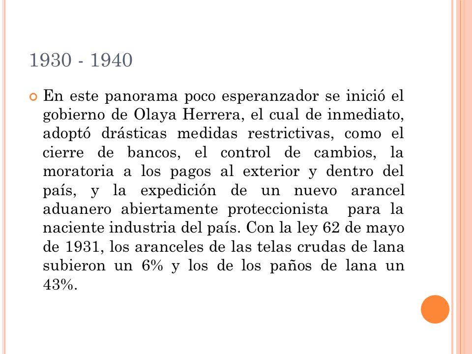 1930 - 1940 En este panorama poco esperanzador se inició el gobierno de Olaya Herrera, el cual de inmediato, adoptó drásticas medidas restrictivas, como el cierre de bancos, el control de cambios, la moratoria a los pagos al exterior y dentro del país, y la expedición de un nuevo arancel aduanero abiertamente proteccionista para la naciente industria del país.