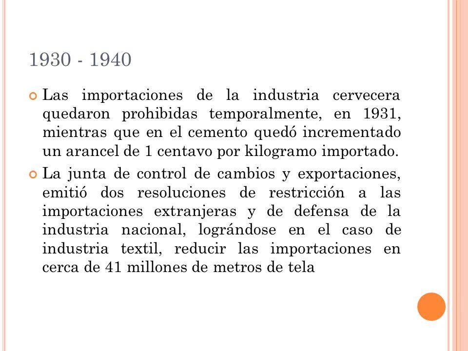 1930 - 1940 Las importaciones de la industria cervecera quedaron prohibidas temporalmente, en 1931, mientras que en el cemento quedó incrementado un arancel de 1 centavo por kilogramo importado.