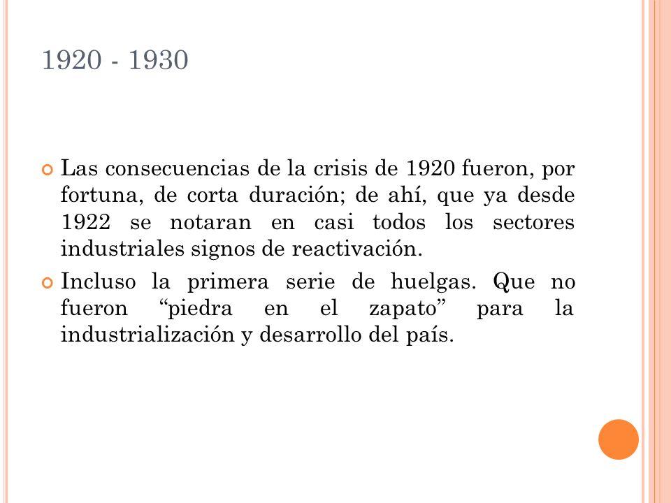 1920 - 1930 Las consecuencias de la crisis de 1920 fueron, por fortuna, de corta duración; de ahí, que ya desde 1922 se notaran en casi todos los sectores industriales signos de reactivación.