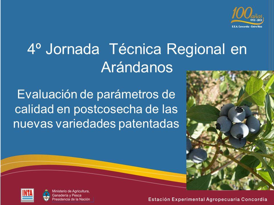 4º Jornada Técnica Regional en Arándanos Evaluación de parámetros de calidad en postcosecha de las nuevas variedades patentadas