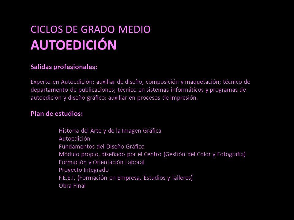 CICLOS DE GRADO MEDIO AUTOEDICIÓN Salidas profesionales: Experto en Autoedición; auxiliar de diseño, composición y maquetación; técnico de departamento de publicaciones; técnico en sistemas informáticos y programas de autoedición y diseño gráfico; auxiliar en procesos de impresión.