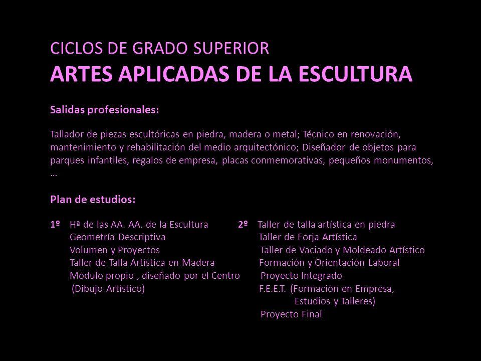 CICLOS DE GRADO SUPERIOR ARTES APLICADAS DE LA ESCULTURA Salidas profesionales: Tallador de piezas escultóricas en piedra, madera o metal; Técnico en