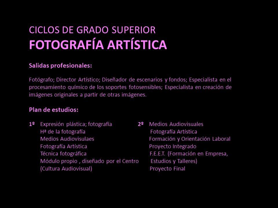 CICLOS DE GRADO SUPERIOR FOTOGRAFÍA ARTÍSTICA Salidas profesionales: Fotógrafo; Director Artístico; Diseñador de escenarios y fondos; Especialista en el procesamiento químico de los soportes fotosensibles; Especialista en creación de imágenes originales a partir de otras imágenes.