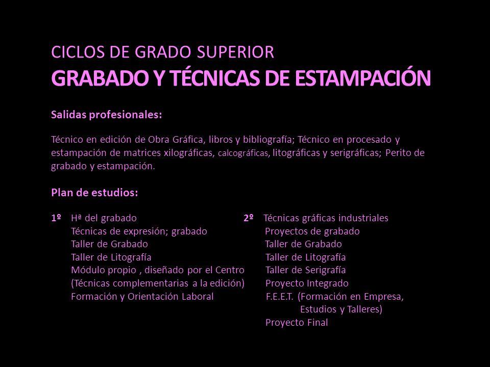CICLOS DE GRADO SUPERIOR GRABADO Y TÉCNICAS DE ESTAMPACIÓN Salidas profesionales: Técnico en edición de Obra Gráfica, libros y bibliografía; Técnico e