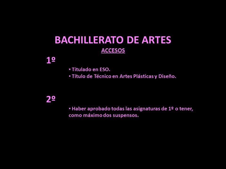 BACHILLERATO DE ARTES ACCESOS 1º Titulado en ESO. Título de Técnico en Artes Plásticas y Diseño. 2º Haber aprobado todas las asignaturas de 1º o tener