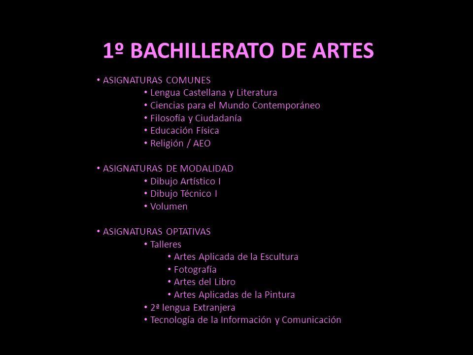 1º BACHILLERATO DE ARTES ASIGNATURAS COMUNES Lengua Castellana y Literatura Ciencias para el Mundo Contemporáneo Filosofía y Ciudadanía Educación Físi