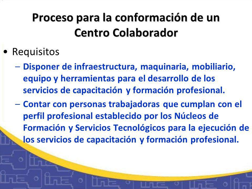 Proceso para la conformación de un Centro Colaborador Requisitos –Disponer de infraestructura, maquinaria, mobiliario, equipo y herramientas para el desarrollo de los servicios de capacitación y formación profesional.